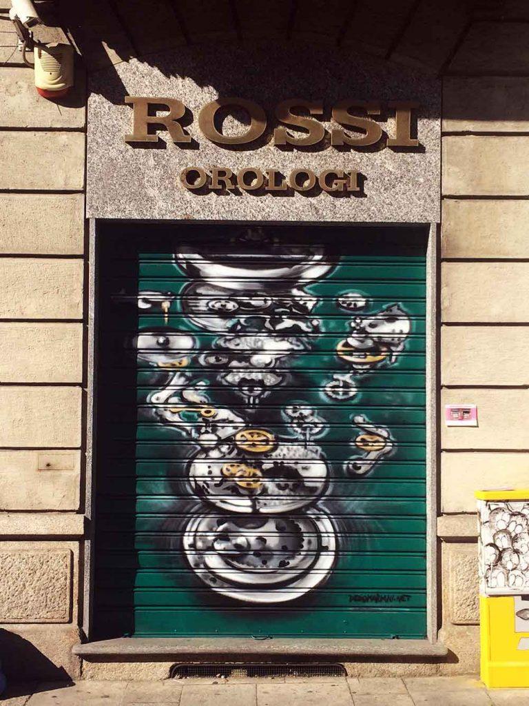 Illustrazione serranda Rossi Orologi