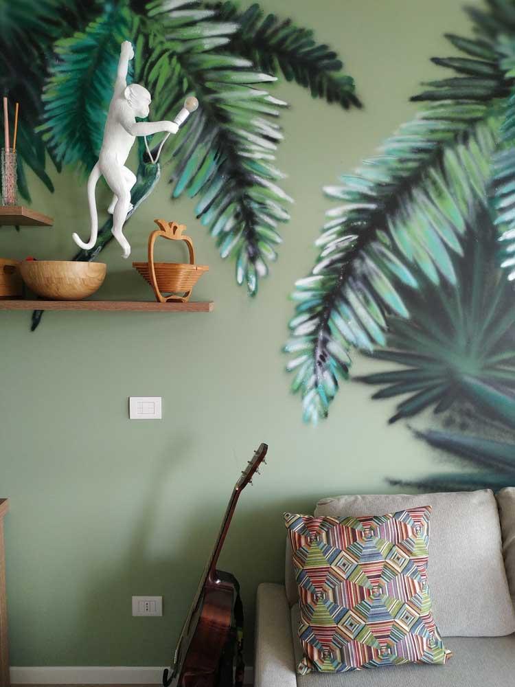 foresta pluviale disegnata su muro